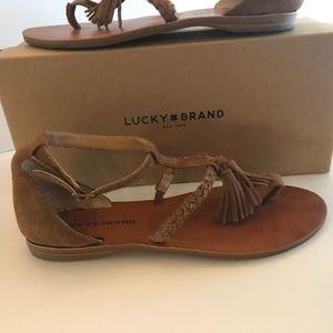 Lucky Brand Suede Tassel Fringe Sandals
